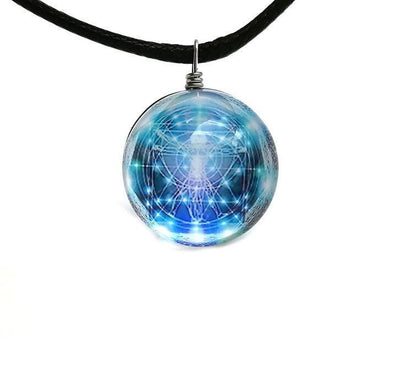 Sri Yantra Glass Globe Pendant Necklaces Style 10 Sri Yantra Necklace