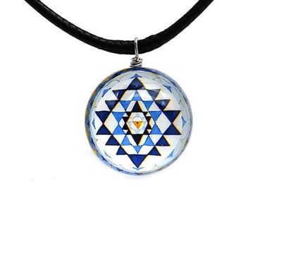 Sri Yantra Glass Globe Pendant Necklaces Style 2 Sri Yantra Necklace