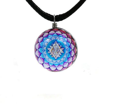 Sri Yantra Glass Globe Pendant Necklaces Style 4 Sri Yantra Necklace