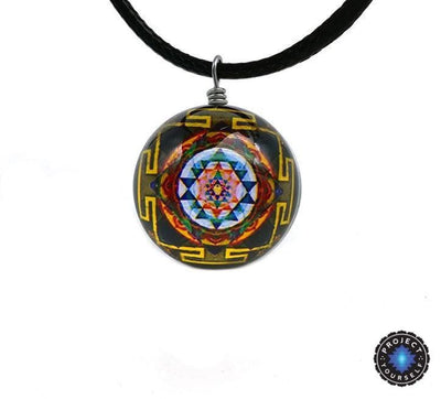 Sri Yantra Glass Globe Pendant Necklaces Style 5 Sri Yantra Necklace
