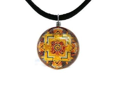 Sri Yantra Glass Globe Pendant Necklaces Style 7 Sri Yantra Necklace