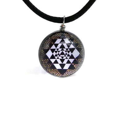 Sri Yantra Glass Globe Pendant Necklaces Style 8 Sri Yantra Necklace
