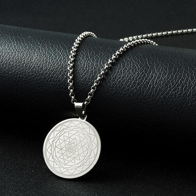 Sri Yantra Stainless Steel Amulet Necklace