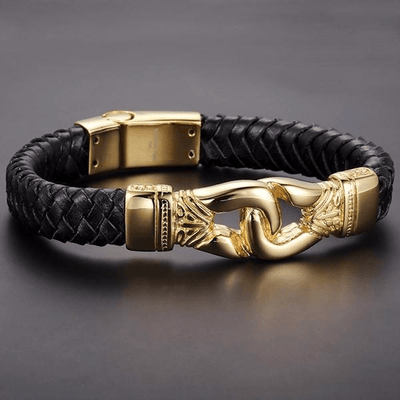 Stainless Steel Aztec Braided Leather Bracelet Gold / Buy 1 - Save 50% Bracelet