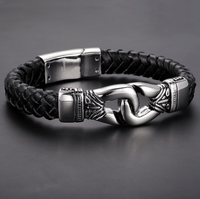 Stainless Steel Aztec Braided Leather Bracelet Silver / Buy 1 - Save 50% Bracelet