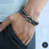Stainless Steel Aztec Leather Woven Bracelet Bracelet