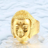 Stainless Steel Buddha Head Ring 7 / Gold Rings