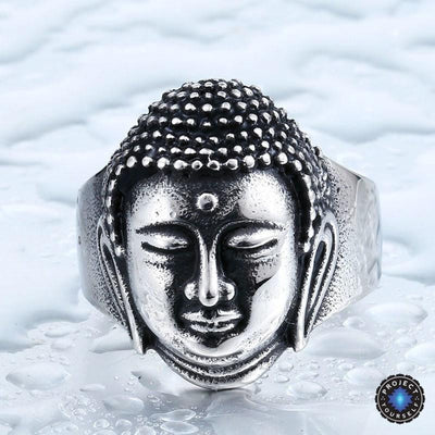 Stainless Steel Buddha Head Ring 7 / Silver Rings