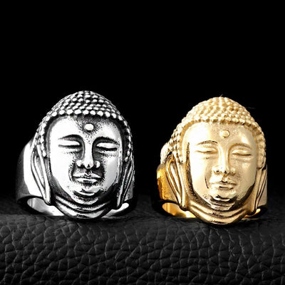 Stainless Steel Buddha Head Ring Rings