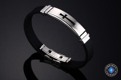 Stainless Steel Cross Bracelet Black Bracelet