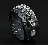Stainless Steel Dragon Leather Cuff black Bracelet