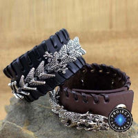 Stainless Steel Dragon Leather Cuff Bracelet