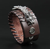 Stainless Steel Dragon Leather Cuff brown Bracelet