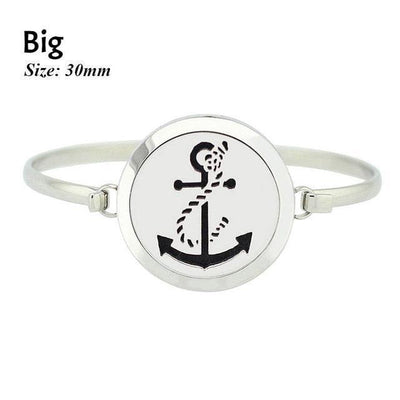 Stainless Steel Essential Oil Aromatherapy Bangle Anchor Big Bracelet