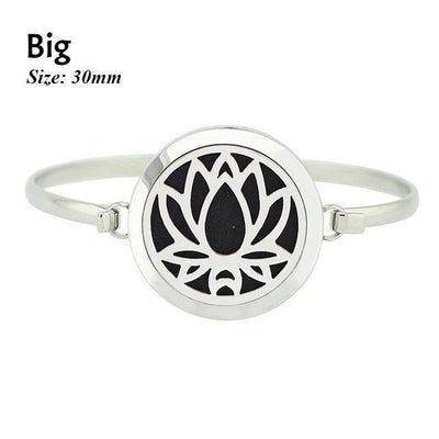 Stainless Steel Essential Oil Aromatherapy Bangle Lotus Big Bracelet
