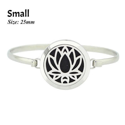 Stainless Steel Essential Oil Aromatherapy Bangle Lotus Small Bracelet