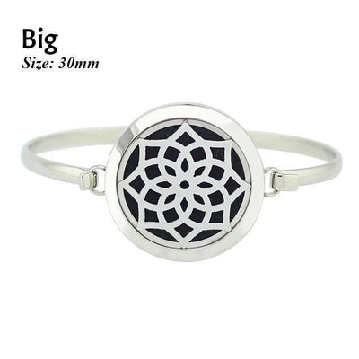 Stainless Steel Essential Oil Aromatherapy Bangle Mandala Big Bracelet
