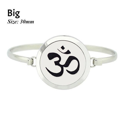 Stainless Steel Essential Oil Aromatherapy Bangle Om Big Bracelet