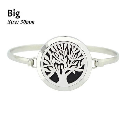 Stainless Steel Essential Oil Aromatherapy Bangle Tree of Life Big Bracelet