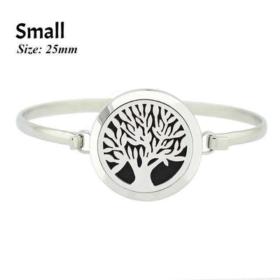 Stainless Steel Essential Oil Aromatherapy Bangle Tree of Life Small Bracelet