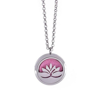 Stainless Steel Essential Oil Diffuser Locket Necklace for Aromatherapy Lotus Diffuser Locket Necklace