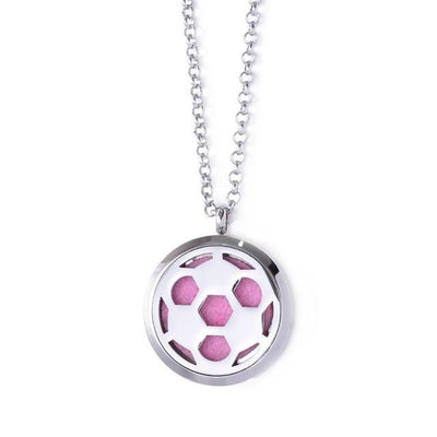 Stainless Steel Essential Oil Diffuser Locket Necklace for Aromatherapy Soccer Ball Diffuser Locket Necklace