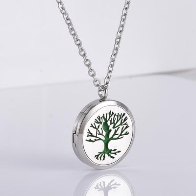 Stainless Steel Essential Oil Diffuser Locket Necklace for Aromatherapy Tree of Life 2 Diffuser Locket Necklace
