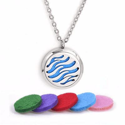 Stainless Steel Essential Oil Diffuser Locket Necklace for Aromatherapy Waves Diffuser Locket Necklace
