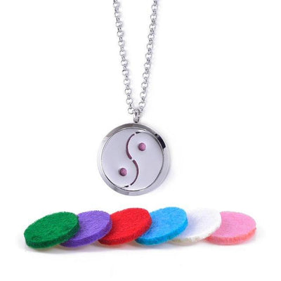 Stainless Steel Essential Oil Diffuser Locket Necklace for Aromatherapy Yin Yang Diffuser Locket Necklace