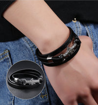 Stainless Steel Faravahar Multiwrap Leather Bracelet Bracelets