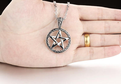 Stainless Steel Five Point Star Pentagram Pendant Necklace Necklace