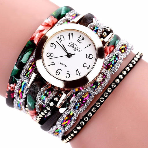 Stainless Steel Floral Crystal Studded Wrap Bracelet Watch Floral Black Watches