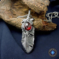 Stainless Steel Gem Stone Feather Pendant Necklace Necklace