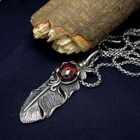 Stainless Steel Gem Stone Feather Pendant Necklace Red / Ball Chain Necklace