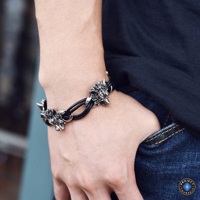 Stainless Steel Leather Rope Wolf Bracelet Bracelet