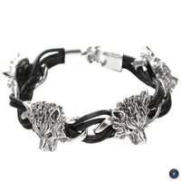 Stainless Steel Leather Rope Wolf Bracelet Wolf Bracelet