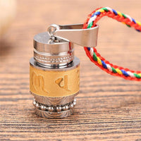 Stainless Steel Prayer Wheel Mantra Necklace Golden Wheel w/ Rope Chain (SMALL) Necklace