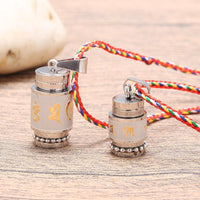 Stainless Steel Prayer Wheel Mantra Necklace Necklace