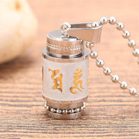 Stainless Steel Prayer Wheel Mantra Necklace Silver Wheel w/ Ball Chain (BIG) Necklace