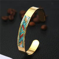 Stainless Steel Seed Beads Open Boho Bangle Style 1 Bracelet