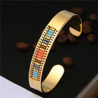 Stainless Steel Seed Beads Open Boho Bangle Style 10 Bracelet
