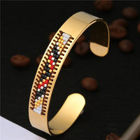 Stainless Steel Seed Beads Open Boho Bangle Style 11 Bracelet