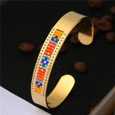 Stainless Steel Seed Beads Open Boho Bangle Style 12 Bracelet