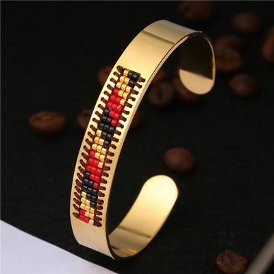 Stainless Steel Seed Beads Open Boho Bangle Style 13 Bracelet