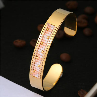 Stainless Steel Seed Beads Open Boho Bangle Style 14 Bracelet