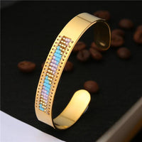 Stainless Steel Seed Beads Open Boho Bangle Style 15 Bracelet