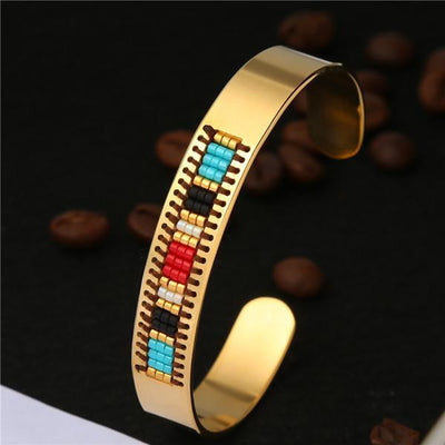 Stainless Steel Seed Beads Open Boho Bangle Style 16 Bracelet