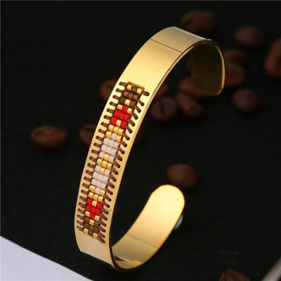 Stainless Steel Seed Beads Open Boho Bangle Style 17 Bracelet