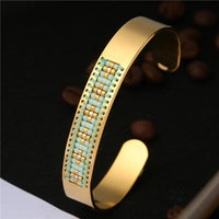 Stainless Steel Seed Beads Open Boho Bangle Style 18 Bracelet