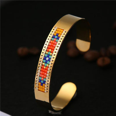 Stainless Steel Seed Beads Open Boho Bangle Style 2 Bracelet